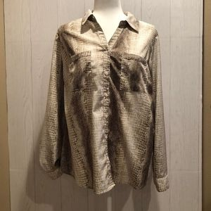 NY Collection Snake Print Button Down Blouse